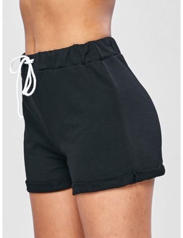 Casual Drawstring Roll Hem Shorts - Black S