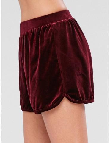 Velvet High Rise Shorts - Red Wine M