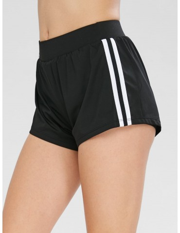 Contrast Athletic Sport Gym Shorts - Black M