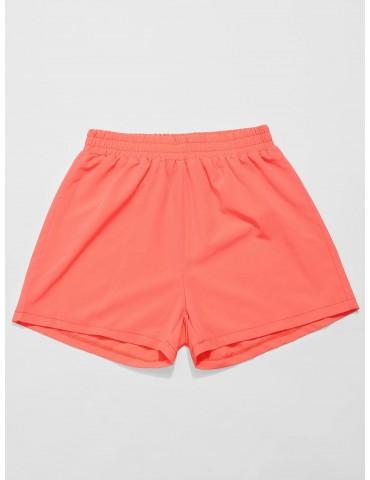 Neon Elastic Waist Gym Shorts - Orange L