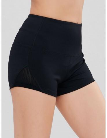 Mesh Panel Sports Bike Shorts - Black L