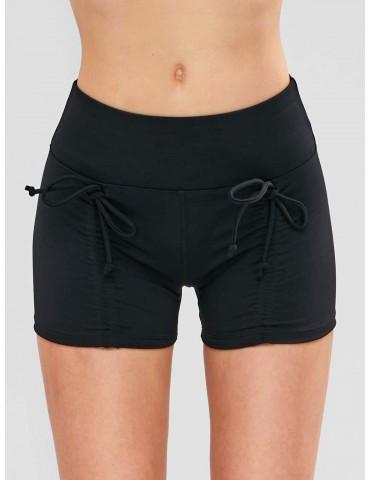 Skinny Ruched Sports Bike Shorts - Black M