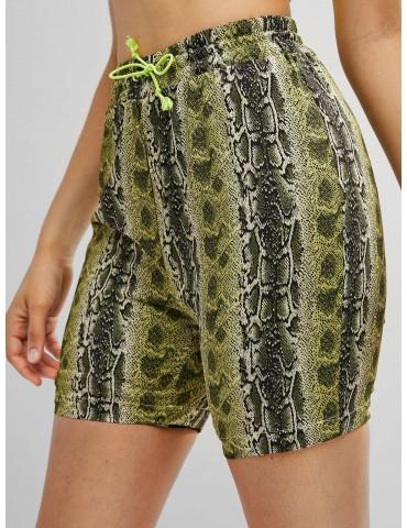 Snakeskin Animal Print Drawstring Shorts - Multi S
