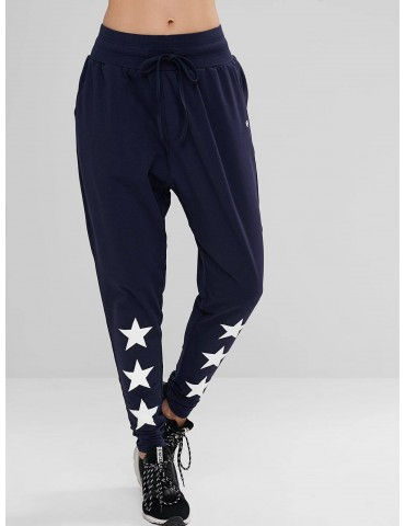 Drawstring Star High Waisted Pants - Cadetblue S