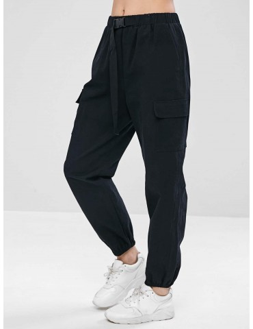 Drawstring Pocket Jogger Pants - Black S