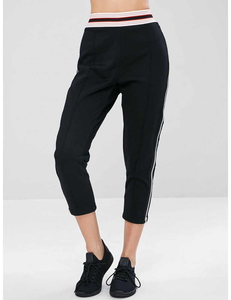 Zip Striped Waistband Gym Sweatpants - Black L