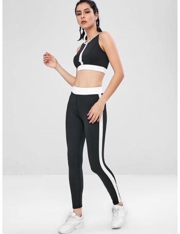 Contrast Two Tone Gym Bra And Leggings Set - Black M