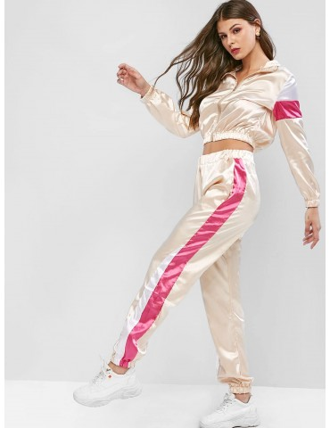 Colorblock Crop Jacket And Jogger Pants Tracksuit - Apricot Xl