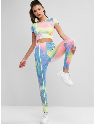 Contrast Piping Two Piece Neon Tie Dye Sports Suit - Multi M