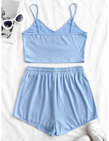 Solid Crop Cami Sports Two Pieces Suit - Light Blue S