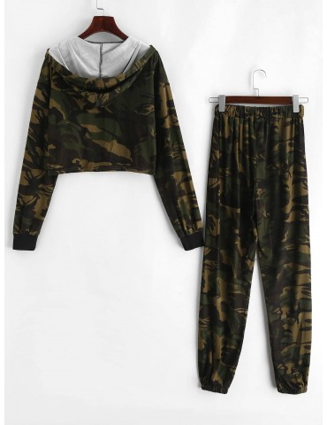 Camo Hooded Zip Two Piece Jogger Pants Set - Acu Camouflage S
