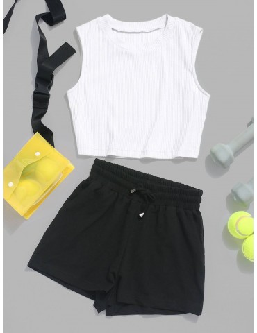 Ribbed Crop Top And Drawstring Shorts Set - White S