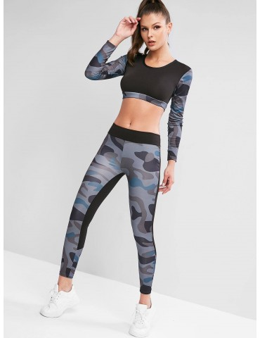 Camouflage Crop Top And Leggings Tracksuit - Army Green S