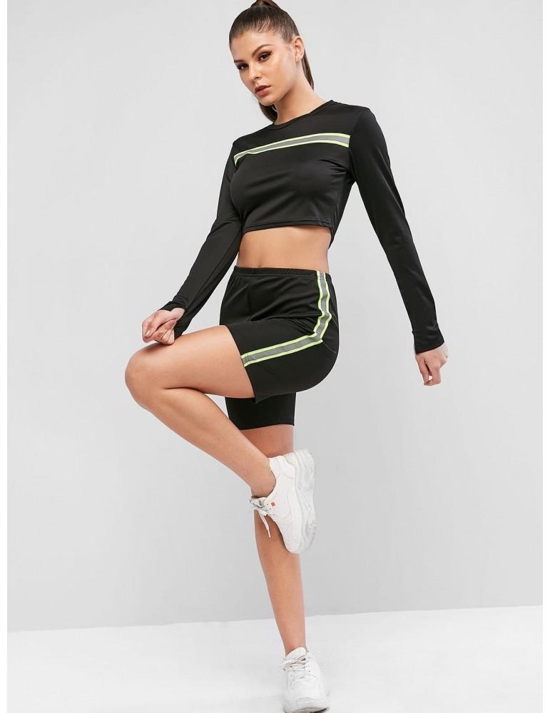 Neon Striped Athleisure Biker Shorts Set - Black S