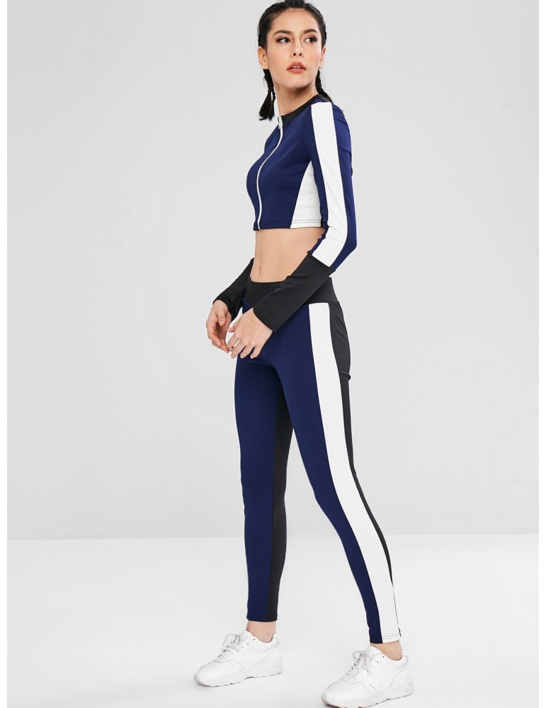 Sport Color Block Sweatshirt And Leggings Set - Midnight Blue M