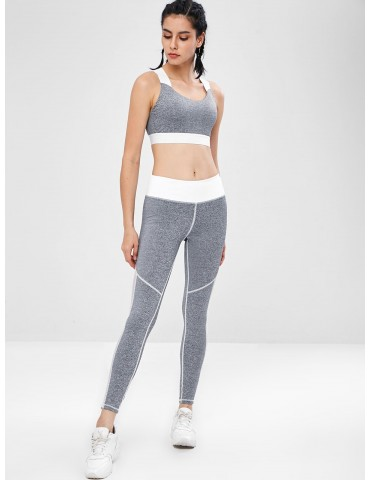 Fishnet Insert Cross Gym Bra And Leggings Set - Gray M