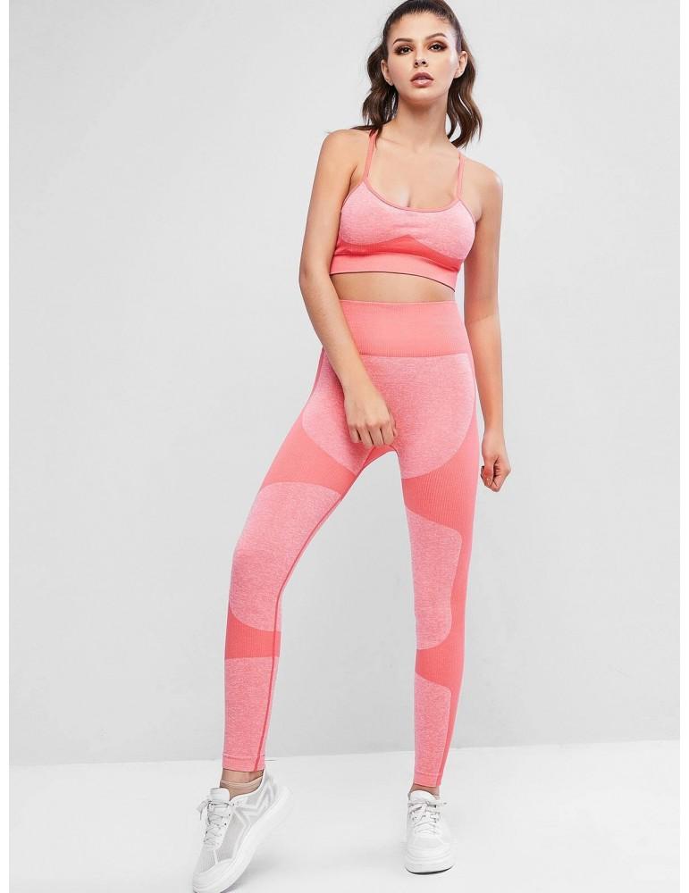 Criss Cross Heather Rib-knit High Waisted Leggings Set - Red L