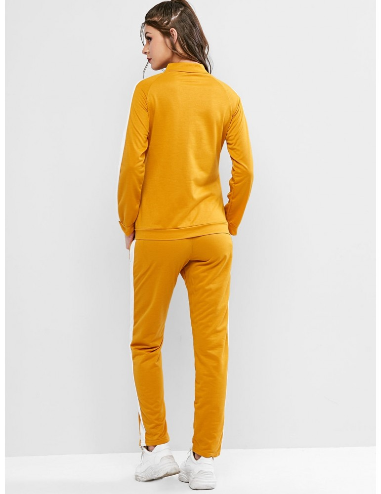Two Tone Raglan Sleeves Pockets Tracksuit - Golden Brown L