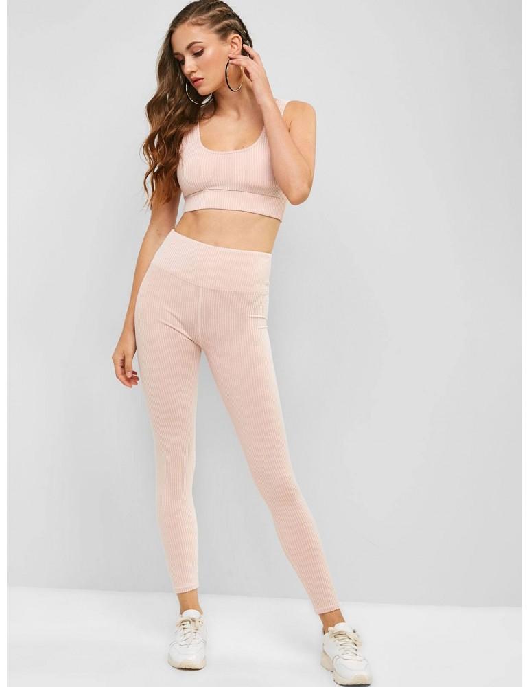 Padded Striped Gym Bra And High Rise Leggings Set - Flamingo Pink M