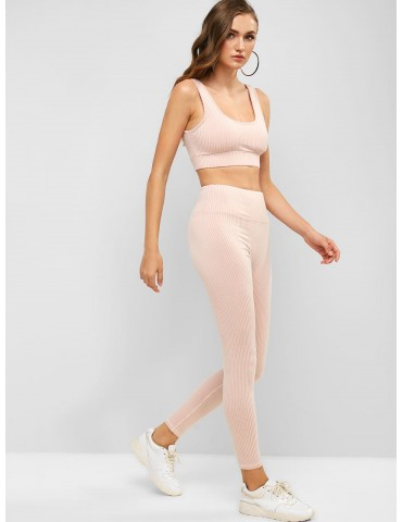 Padded Striped Gym Bra And High Rise Leggings Set - Flamingo Pink M