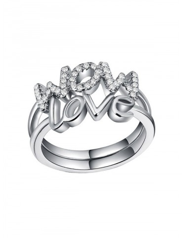 2Pcs Love Mom Letter Ring Set - Silver 6