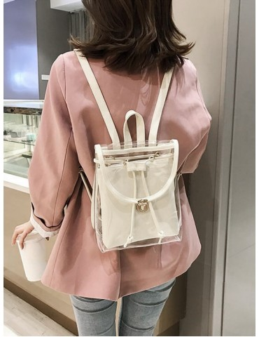 Cover Transparent Hasp Satchel - Beige