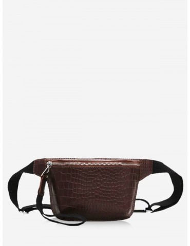 Zipper Crossbody Leather Bag - Brown