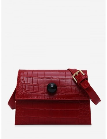 Embossed Cover Shoulder Bag - Red Wine