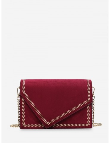 Ear Of Wheat Line Cover Shoulder Bag - Red Wine