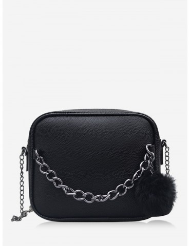 Chain Fluffy Ball Zipper Mini Crossbody Bag - Black