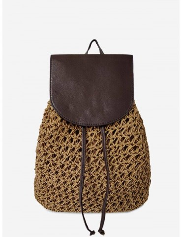 Braided Straw Beach String Backpack - Brown