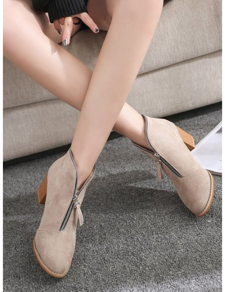 Zip Trim Stacked Heel Ankle Boots - Apricot Eu 41